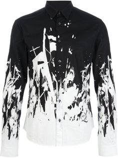 Mcq By Alexander Mcqueen White Paint Splatter Shirt