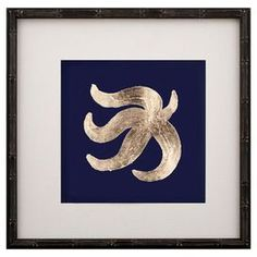 """Wall art in a bamboo-inspired frame.  Product: Framed wall artConstruction Material: Bamboo, oyster linen, paper and glassColor: Black frameFeatures: Starfish motifDimensions: 15"""" H x 15"""" W"""