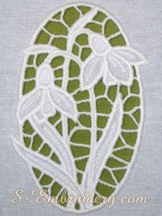 Snowdrops cutwork lace machine embroidery design