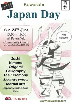 Sunday 24th June is also Japan Day in Petersfield. Sample Sushi, Japanese style bread and Japanese style cut meat. Learn the art of Origami and Calligraphy. Join in a Traditional Tea Ceremony. Try on a Traditional Kimono and take home a bookmark with your name in Japanese. There will be Karate and Kendou displays and more.