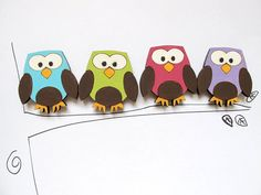 Magnets- Set of 4 wooden magnets-colorful owls -funny magnets for children/teens/adults/ hostess gift on Etsy, $12.00