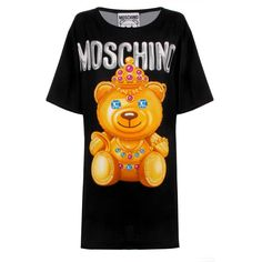 Moschino Royal Teddy Bear Dress (£790) ❤ liked on Polyvore featuring dresses, embellished dress, oversized tee dress, tee shirt dress, teddy bear dress and balloon dress