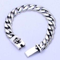 Men's Sterling Silver Fleur De Lis Curb Chain Bracelet