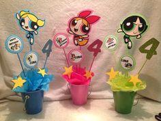 Center pieces I made for Luna's birthday powerpuff girls