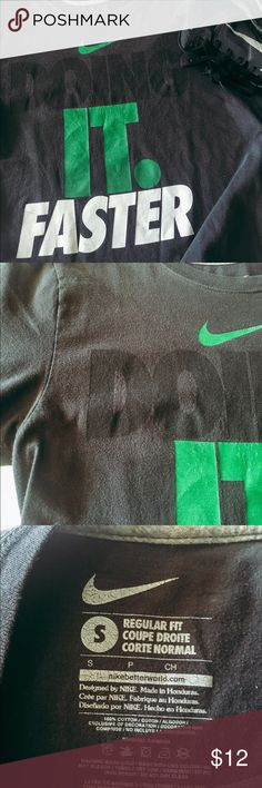 Nike T-Shirt Very cool Doing It Faster tshirt. Very comfy! Lighten wash look from wear. No other flaws! Nike Shirts Tees - Short Sleeve