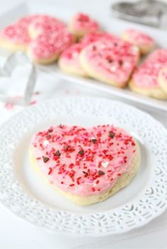 Heart Shaped Sugar Cookies with blue frosting and blue sprinkles