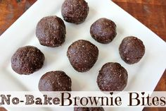 No-Bake Brownie Bites RECIPE:  1/2 cup pumpkin seeds 1/2 cup sunflower seeds 1/2 cup almonds 1 1/2 cups cocoa 1/3 cup coconut oil 1 Tbsp vanilla 2 cups dates  Combine nuts/seeds in food processor until finely ground. Add cocoa powder, coconut oil, and vanilla. Blend. Add de-pitted dates. Blend again. Refrigerate and experience chocolate heaven.