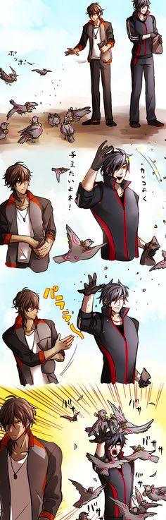 【刀剣乱舞】ハトに餌やりをする倶利伽羅と光忠【とある審神者】 : とうらぶ速報~刀剣乱舞まとめブログ~