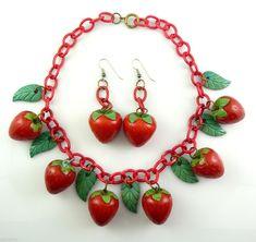 rare vintage 1930s 40s strawberry bakelite and earring set on ebay
