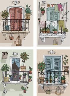 Residency Acrylic Print featuring the digital art Set Of Cute Balcony - Cartoon by Iralu house illustration, Set Of Cute Balcony - Cartoon Acrylic Print by Iralu Watercolor And Ink, Watercolor Illustration, Watercolor Paintings, Watercolor Architecture, Architecture Drawing Art, Building Art, Building Sketch, Building Painting, Building Drawing