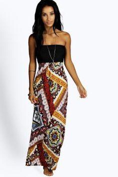 Jenna Contrast Paisley Maxi Dress at boohoo.com