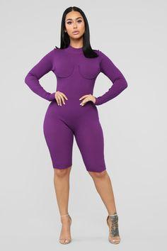 Set It Off Capri Jumpsuit - Purple – Fashion Nova Mauve, Capri Jumpsuit, Look Body, Black Tube Tops, Satin Mini Dress, Rhinestone Dress, Long Jumpsuits, Fashion Nova Models, Black Bodysuit
