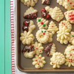 Buttery Spritz Cookies Recipe -This tender spritz cookie recipe is very eye-catching on my Christmas cookie tray. The dough is easy to work with, so it's fun to make these into a variety of festive shapes. Best Spritz Cookie Recipe, Best Christmas Cookie Recipe, Spritz Cookies, Holiday Cookies, Sugar Cookies, Cookie Recipes, Molasses Cookies, Chip Cookies, Eggnog Cookies