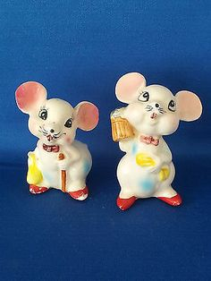 VINTAGE SALT AND PEPPER SHAKERS SET SETS COMICAL CARTOON MICE WITH BEER