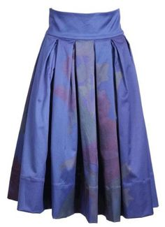 Michal Negrin Box Pleated Knee-Length Blue Skirt with Tie Dye Pattern; Handmade in Israel Michal Negrin. $1128.00