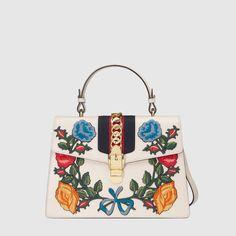 Sylvie embroidered leather top handle bag - Gucci Women's Handbags 431665CVL6G8406