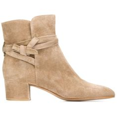 Gianvito Rossi Moore Ankle Boots (6 770 SEK) ❤ liked on Polyvore featuring shoes, boots, ankle booties, suede boots, beige suede boots, chunky boots, low ankle boots and short boots
