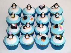 Fondant penguin cupcakes just for my friend who loves penguins!