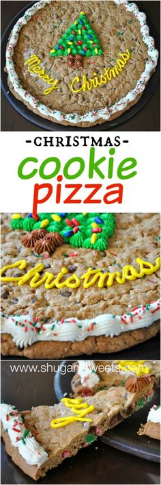 Chocolate Chip Christmas Cookie Pizza: celebrate the holiday with a homemade cookie cake!