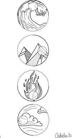 4 Element symbols Water, earth, fire and air. Tattoo idea no 1. drawn on Illustrator #filipinotattoossymbols #filipinotattooswater