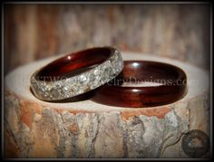Bentwood Rings Set - Kingwood  Classic and Kingwood Full Glass Inlay - Bentwood Jewelry Designs - Custom Handcrafted Bentwood Wood Rings  - 1