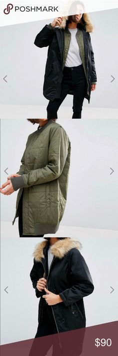 ASOS Petite 3 in 1 Parka NWT petite coat by ASOS Petite. Woven canvas outer, detachable bomber lining, three style design, fully lined, hooded neckline, removable faux fur trim, ribbed collar, zip fastening. Size 6, never worn. ASOS Petite Jackets & Coats