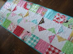 Quilted Table Runner  Windmills in Glamping retro by Pamelaquilts, $55.00
