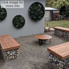 Gabion basket ideas and information Fire Pit Seating, Fire Pit Area, Backyard Seating, Garden Seating, Seating Areas, Diy Fire Pit, Fire Pit Backyard, Backyard Patio, Backyard Ideas