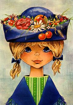 Vintage big eye doll card from the 70's. Cute girl with a wonderfull hat.