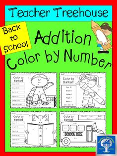 Four 'Back to School' themed addition color by number worksheets. There are two copies of each- one set is a printer friendly version that is completely black and white. The other set has the color words written in the color to help beginning readers.