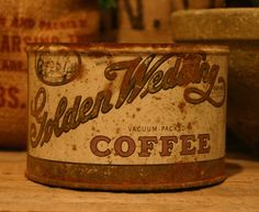 CANDLE Unique Hand-Poured Soy Wax Candle in Old Vintage Golden WEDDING Coffee Can GREAT 50th Anniversary Gift Antique Collectable Tin.