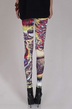 Purple Totem Print Leggings. Great for a night techno concert