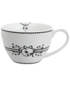 WHITE CAPPUCCINO CUP AND SAUCER, MISS BLACKBIRDY