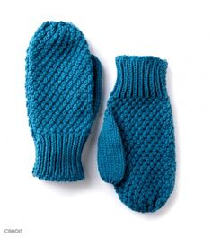 Caron Textured Family Knit Mittens, Knit Pattern | Yarnspirations