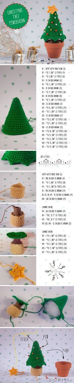 #crochet, free pattern, pincushion, X-mas, Christmas tree, amigurumi, decoration, #haken, gratis patroon (Engels), speldenkussen, Kerstmis, Kerstboom, decoratie, #haakpatroon