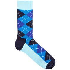 Happy Socks Blue Argyle cotton blend socks ($11) ❤ liked on Polyvore featuring men's fashion, men's clothing, men's socks, mens blue socks, mens blue argyle socks and mens argyle socks