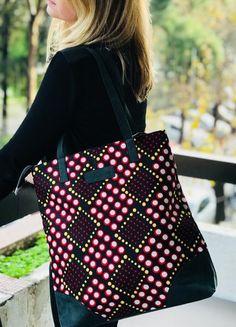 2085b49759 Ankara print Tote bag leather wax print bag african print ankara print  ethnic red and black backpack for woman