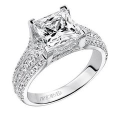 Artcarved Harper Princess Cut Diamond Engagement Ring in 14K White Gold Featuring 1.00 Carats of Round Diamonds. · 31-V504HCW · Ben Garelick Jewelers