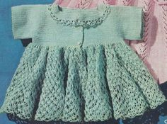 Vintage Crochet PATTERN to make - Thread Crochet Baby Sacque Sweater Dress. NOT a finished item. This is a pattern and/or instructions to make the item only. - I Crochet World Crochet Dragon Pattern, Crochet Baby Dress Pattern, Crochet Cross, Thread Crochet, Annie's Crochet, Easy Crochet, Vintage Crochet Patterns, Vintage Knitting, Free Baby Patterns