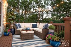 deck furniture Small deck decorating ideas with string lights-the easiest way to hang string lights on your deck or patio Deck Decorating Ideas On A Budget, Outdoor Deck Decorating, Outdoor Decor, Porch Decorating, Small Deck Ideas On A Budget, Diy On A Budget, Patio Ideas For Small Spaces, Deck Oasis Ideas, Outdoor Seating
