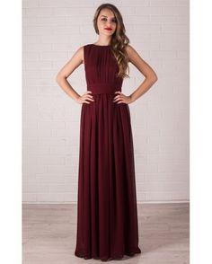 Floor Length Evening Dress Marsala. Chiffon Dress by Dioriss