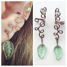 Woodland fairy ear cuff in copper with green leaf dangle wood