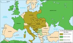 The political map of Europe in The olive green countries are apart of the Triple Alliance or the Central Powers, while in the green is the Triple Entente or the Allied Powers. Triple Entente, Albania, Montenegro, Bulgaria, Bataille De Verdun, Triple Alliance, Alliance Ring, South Korea Travel, Geography