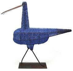 Bead Bird by Birger Kaipiainen for Arabia, end of 1960's. Made of metal hulls and unglazed porcelain beads in shades of blue. Height 82 cm