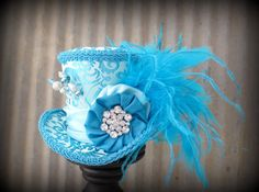 e6b2817d06fe Winter Wonderland Ball Ideas · Ice Blue Mini Top Hat Mad hatter Hat Alice  in by ChikiBird on Etsy, $52.00