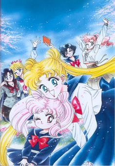 """""""This is the cover of Nakayoshi-the month following Chibi-Usa's debut appearance. Her hairstyle was not finalized then. The structure of her hair is truly a mystery. I didn't think deeply when I designed it, so it was a surprise when I first saw a Chibi-Usa doll-I couldn't believe that her hair could be three-dimensional. So I observed the doll's head from various angles. A three-dimensional shape is wonderful."""""""