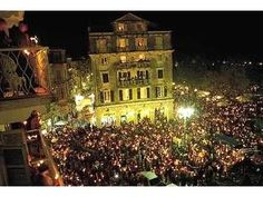 An Easter Festival in Corfu Town Corfu Greece at Night Around The World In 80 Days, Around The Worlds, Old Town Apartments, Villas In Corfu, Corfu Town, Greece Destinations, Corfu Island, Greek Easter, Corfu Greece