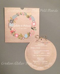 faire part mariage rond kraft fanion couronne fleurs Gifts For Campers, Camping Gifts, Wedding Stationery, Wedding Invitations, Wedding Cards, Wedding Day, Wedding Preparation, Wedding Announcements, Creative Gifts