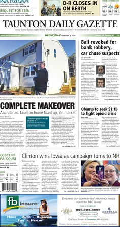The front page of the Taunton Daily Gazette for Wednesday, Feb. 3, 2016.