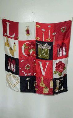 100%  Art Of Silk LOVE Scarf 34 X 34 Super Chic Addition to your Wardrobe #tierack #Scarf